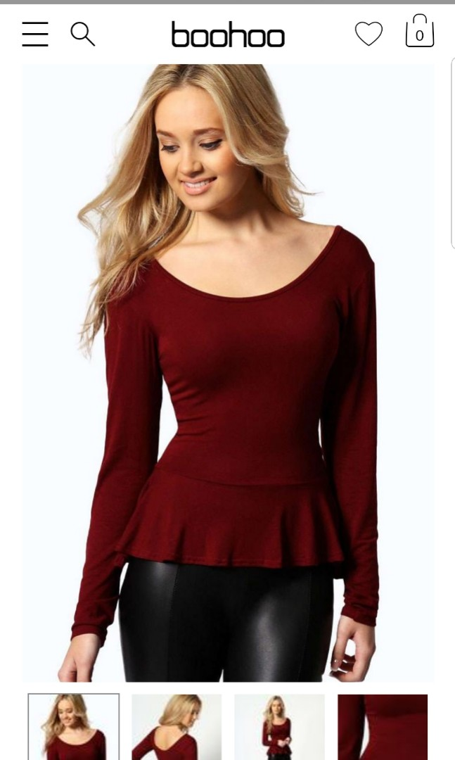 b695859320 (NA) Boohoo Wine Red Aliya Soft Long Sleeve Peplum Top