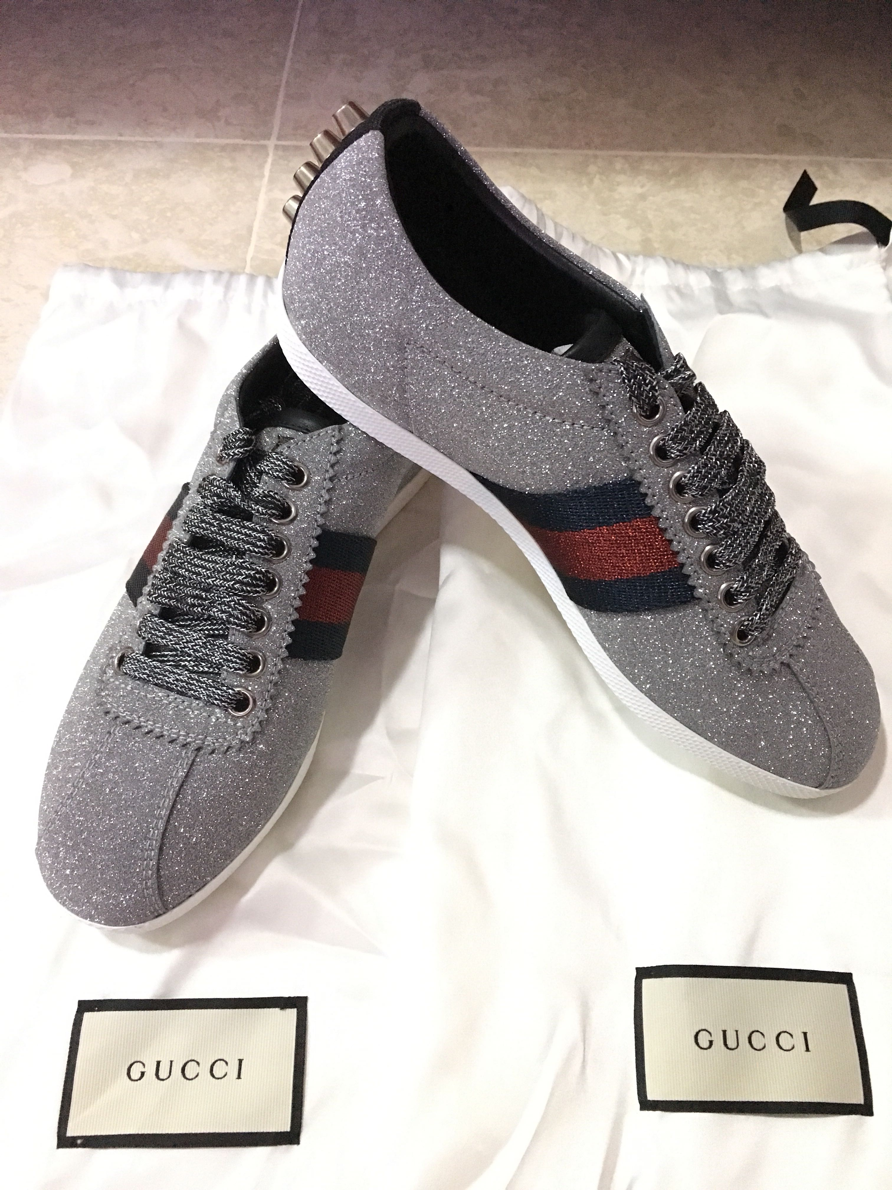 8eaa11efe Brand New Gucci Silver Glitter Web Bambi Sneakers, Luxury, Shoes on ...