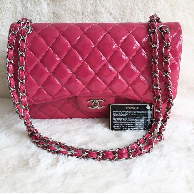 37902aa43f35 CHANEL JUMBO DOUBLE FLAP FUCHSIA PINK PATENT LEATHER WITH SILVER HARDWARE  BAG on Carousell