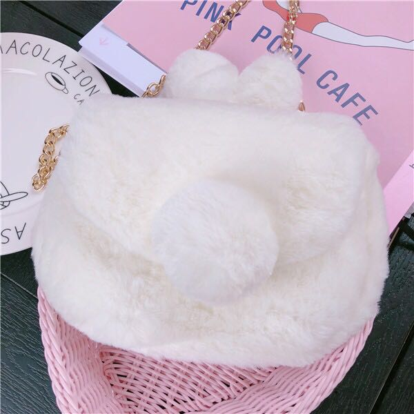 fb6d8663571c Clearance Sale  BN Cute Fluffy Bunny Tail Sling Bag