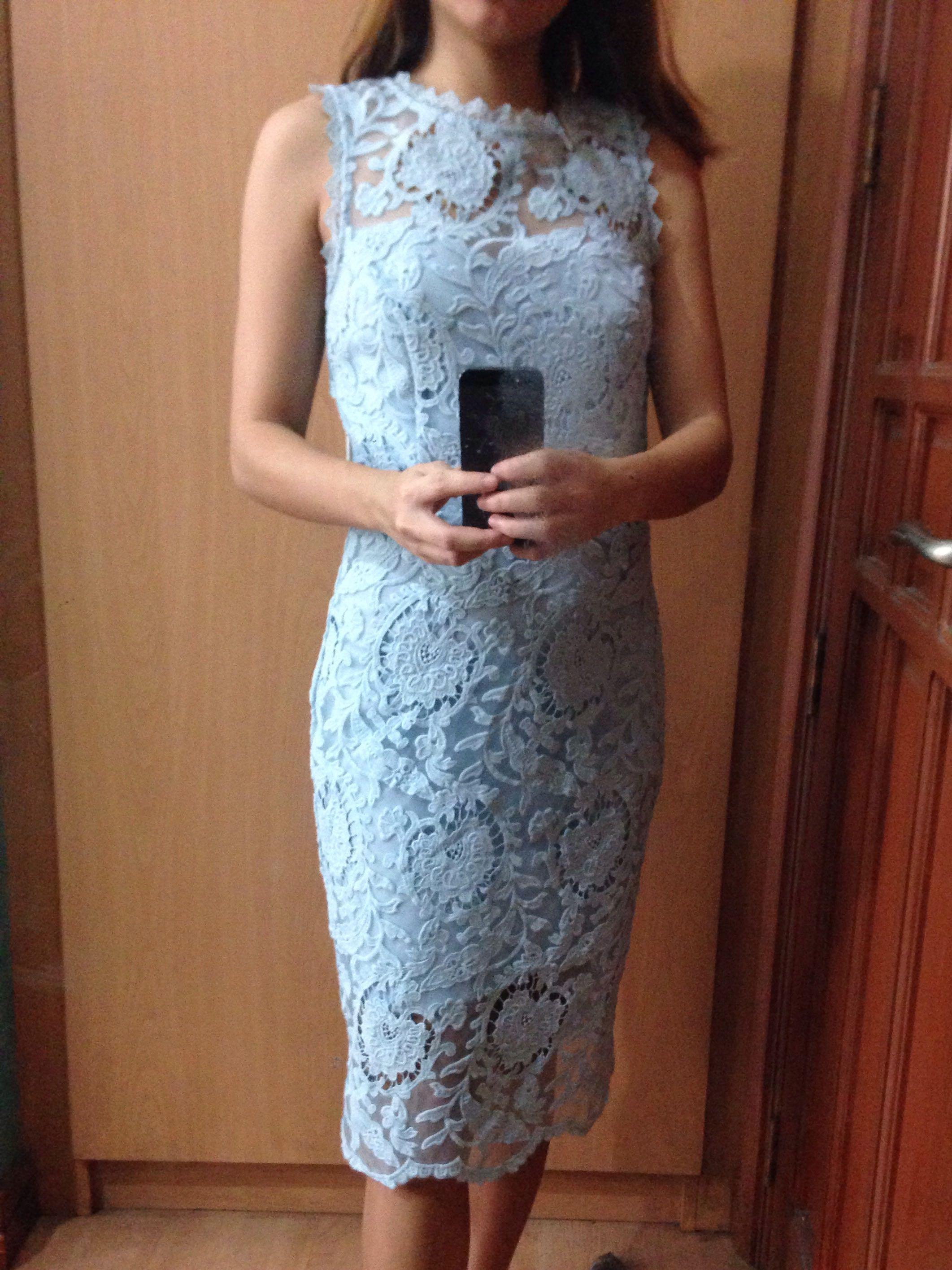 66e466cab3 Crochet Lace Light Blue Cocktail Dress For RENT