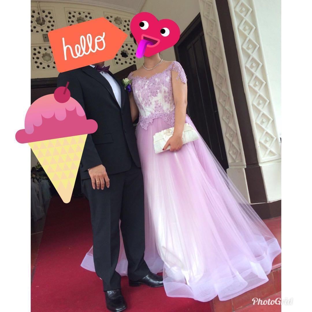 For Rent : Gaun Pesta Tulle dress ungu pastel