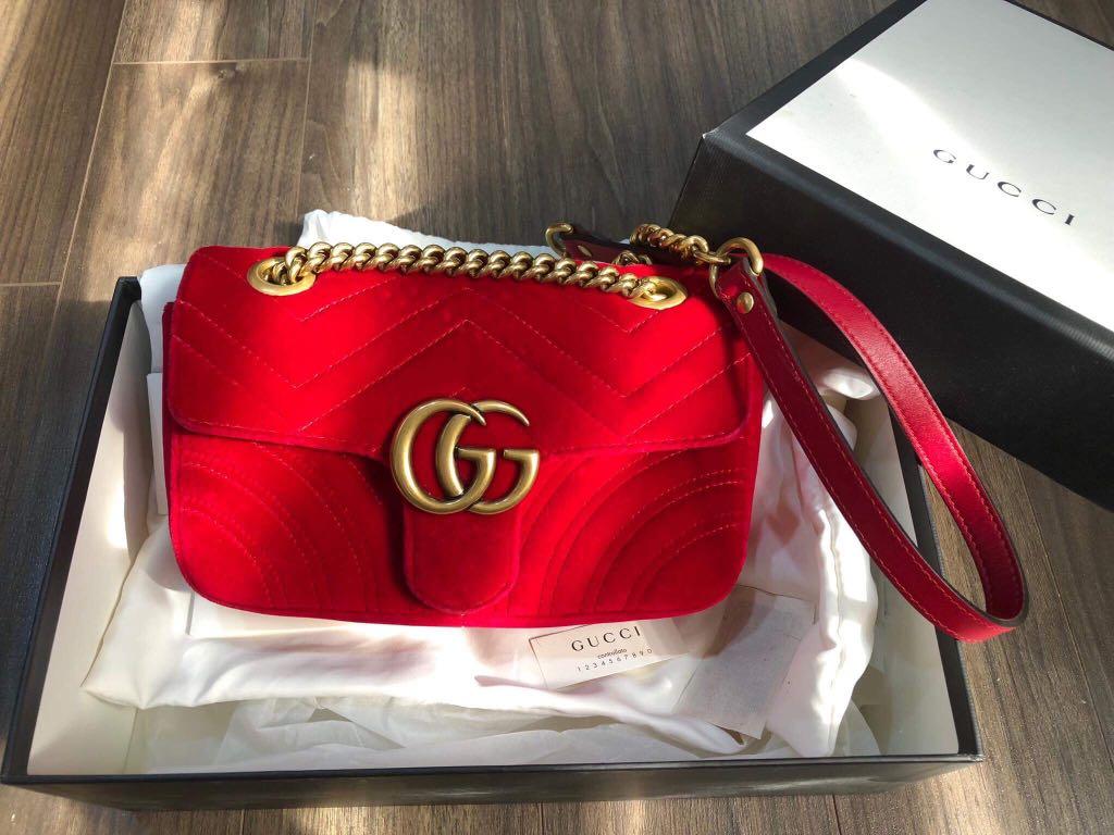 4b39de1c750b Gucci marmont red velvet mini size, Luxury, Bags & Wallets, Handbags on  Carousell