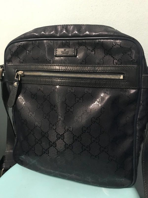 904914dff Gucci Shoulder Cross Body Bag Black (PVC), Luxury, Bags & Wallets, Sling  Bags on Carousell