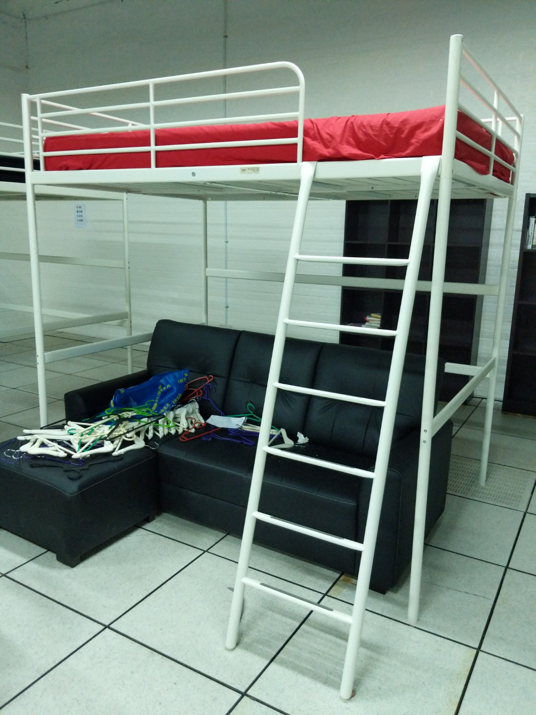 Ikea White Queen Loft Bed Frame With Mattress And Covers Furniture Beds Mattresses On Carou