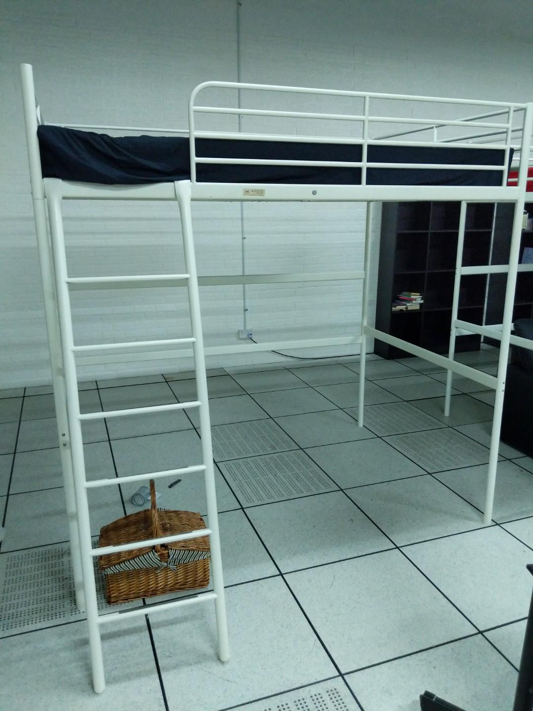Picture of: Ikea White Queen Loft Bed Frame With Mattress And Covers Furniture Beds Mattresses On Carousell