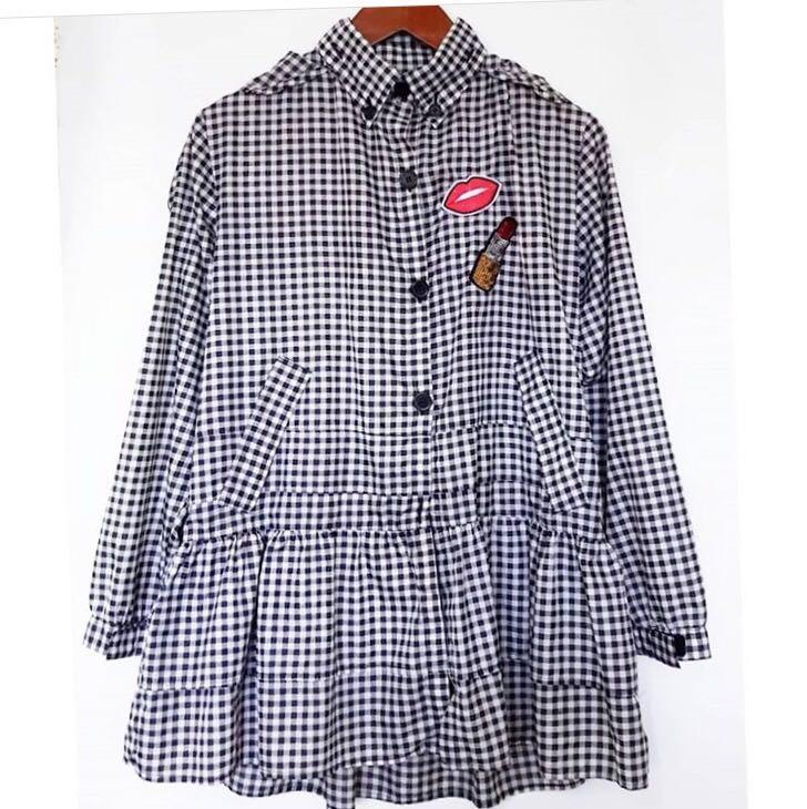 Korean Gingham Paracute Jacket