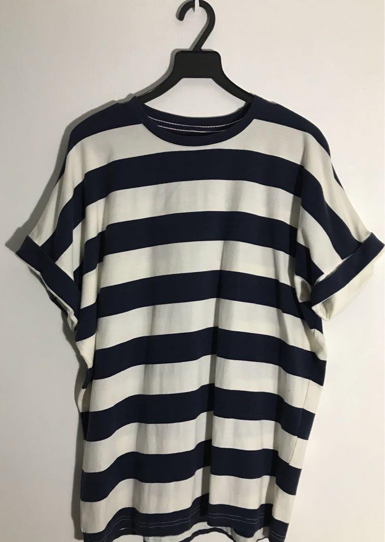 Korean Men Street Wear Blue White Stripes Tee Shirt Men S Fashion
