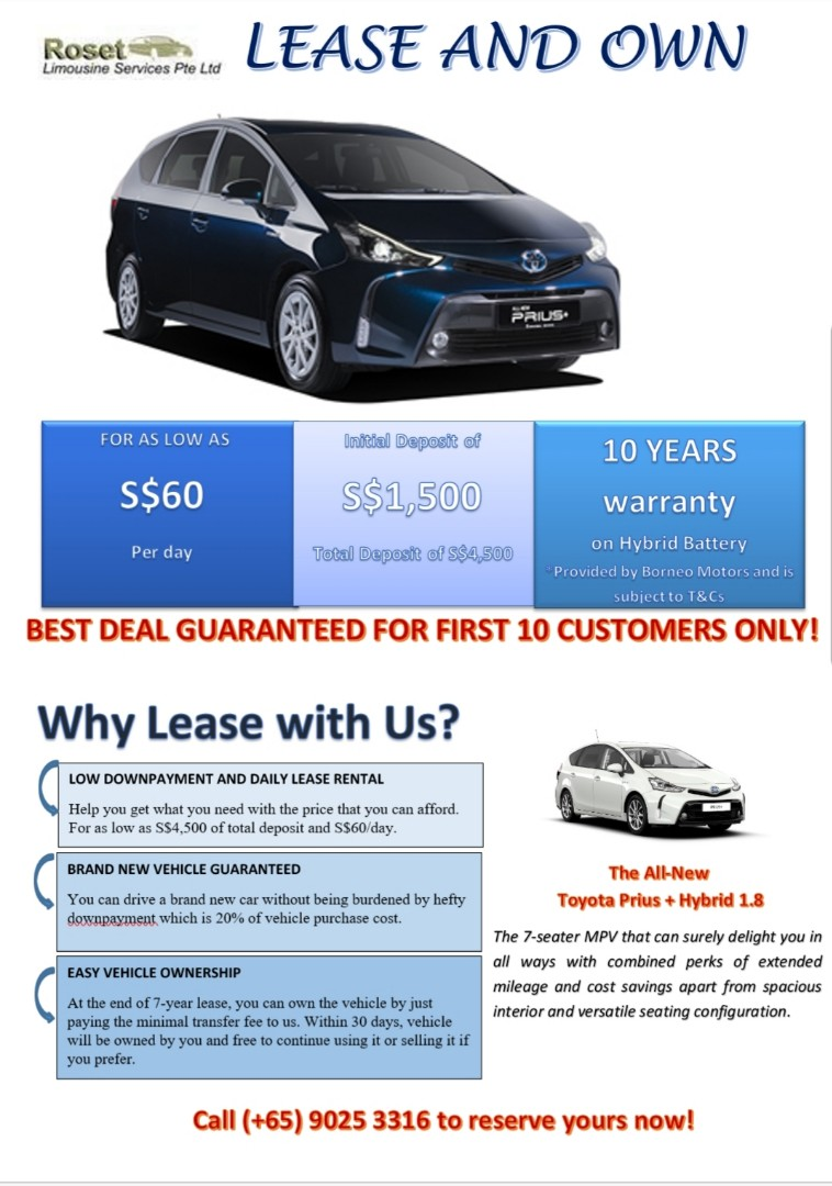 Lease To Own Car >> Lease And Own New Toyota Prius Hybrid 1 8 Cars Vehicle Rentals