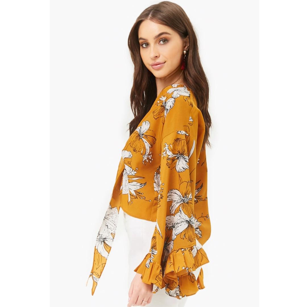 *NEW* Medium Mustard Yellow Floral Bell Sleeve Top from Forever 21