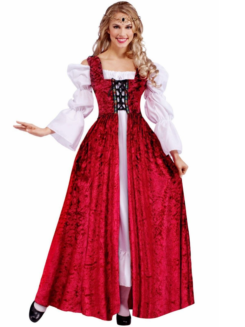 Renaissance Queen Fancy Dress Medieval Maid Marion Womens Adults Costume Outfit