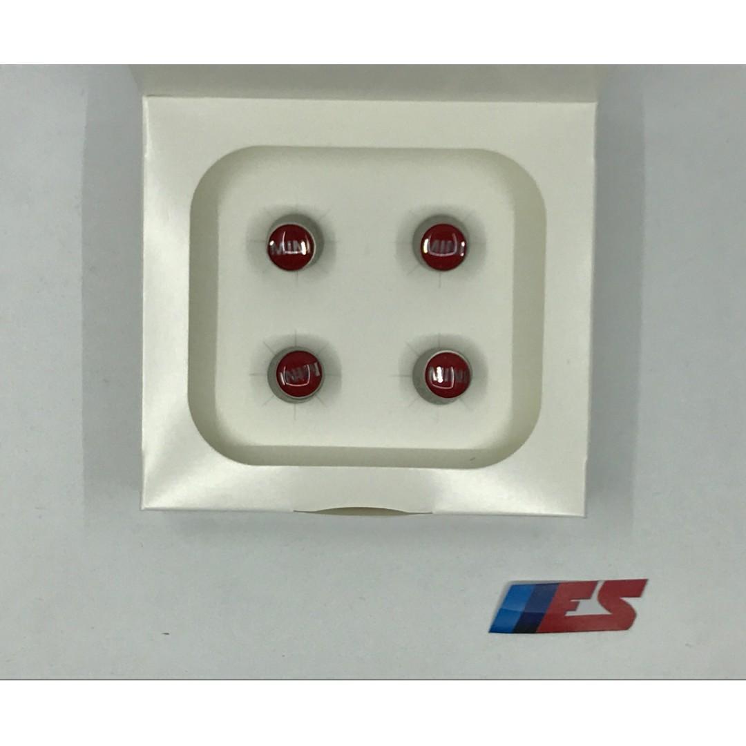 Mini Cooper Air Valve Caps Set (Mini Wordmark Red)