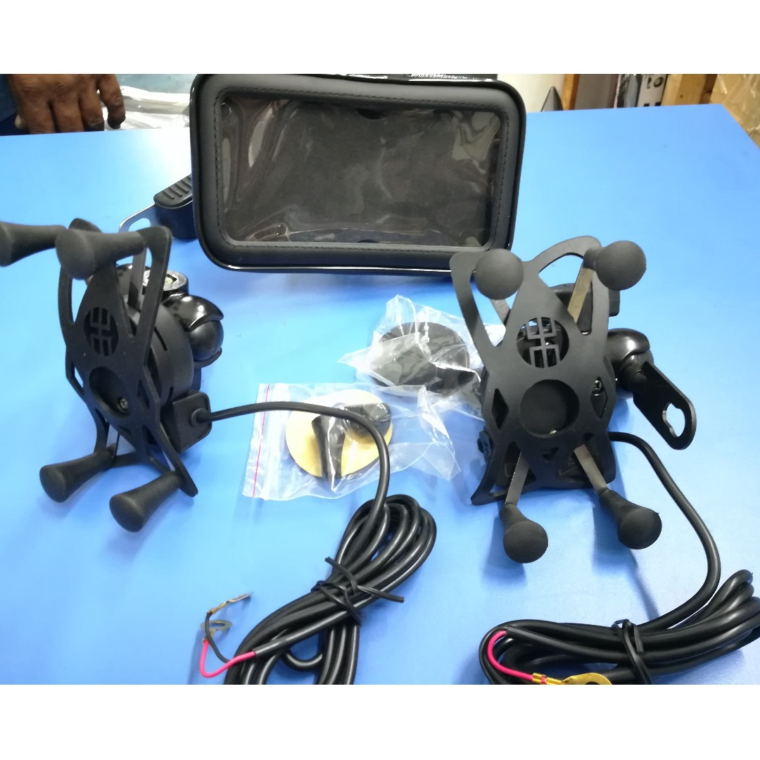Motorcycle Phone Mount Holder With Usb Charger Port Include Hp Motor Waterproof Installation Motorbikes Motorbike Accessories On Carousell
