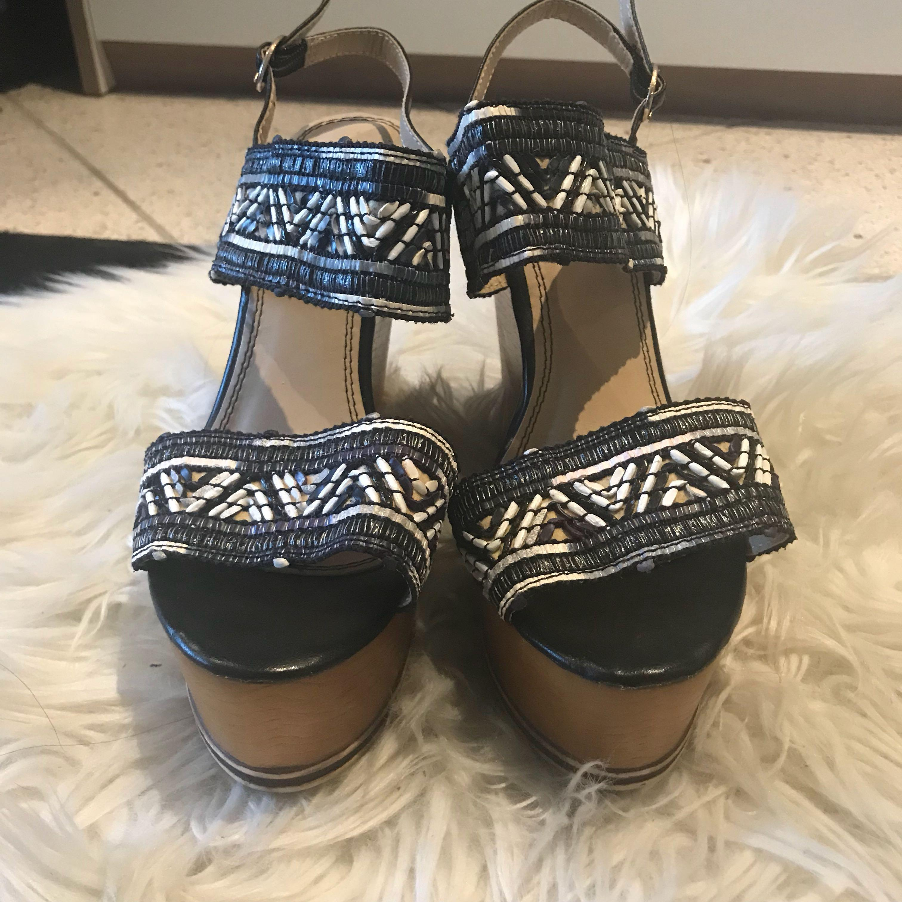 Pearl embroidered strappy wedges - sz 7 - never worn