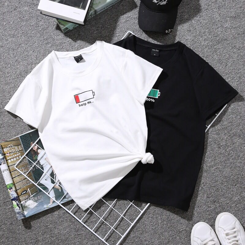 af75b79e64e PO   WA  Summer Simple Battery Charging Short Sleeve Round Neck ...