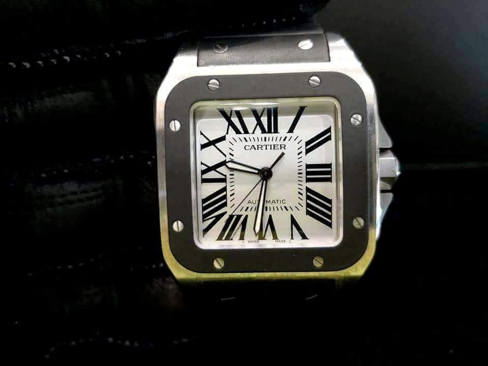 b543a2f313193 PREOWNED CARTIER Santos 100XL Automatic, 38mm, Steel Mens Watch
