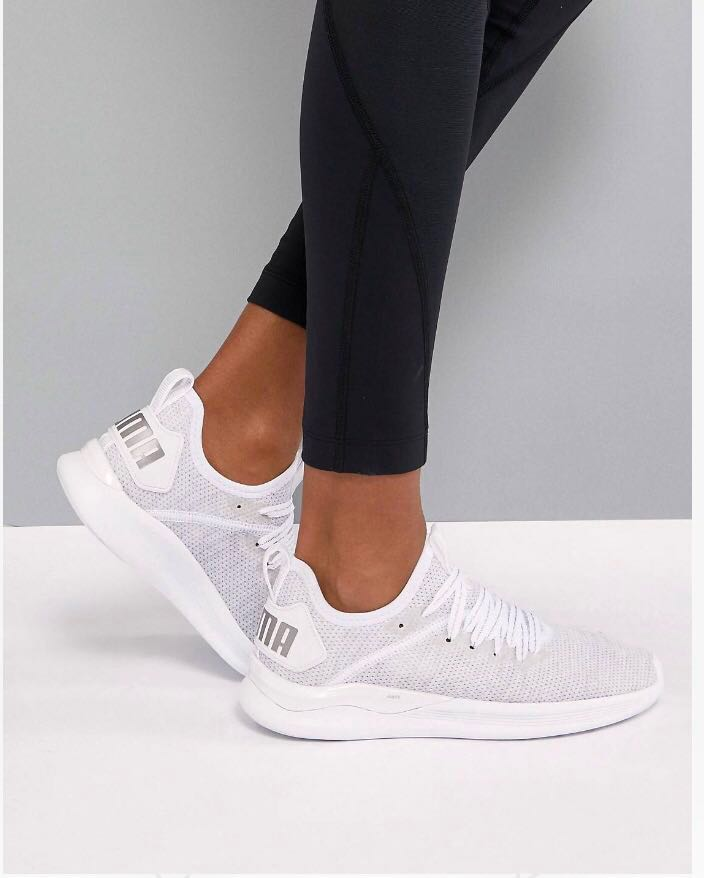 Puma Ignite Flash Evoknit Trainers in White, Women's Fashion