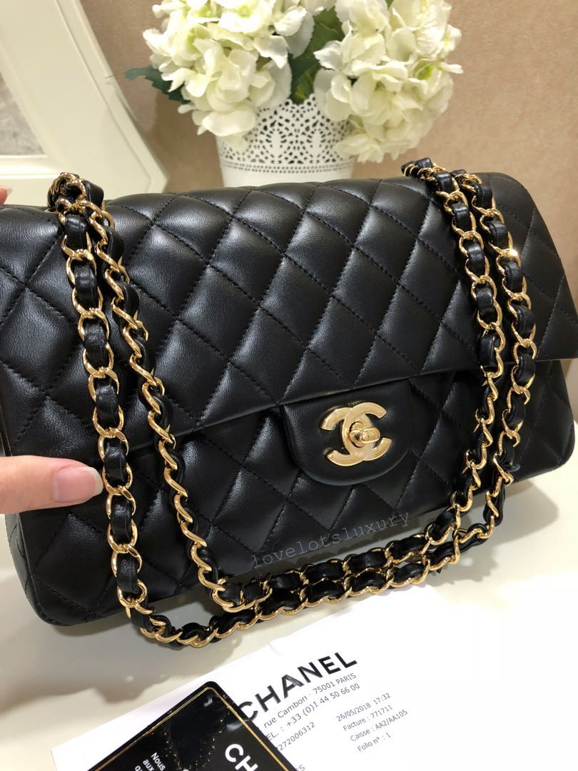 5693b238f3a7a SOLD) 2018 New Chanel Classic Quilted Double Flap Medium Large Black ...