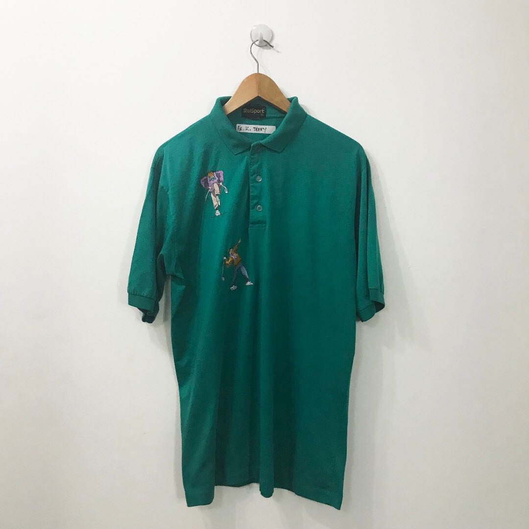 7142ac4a53d4 THRIFT STORE FINDS] VINTAGE GREEN GOLF POLO TEE EMBROIDERED, Men's ...