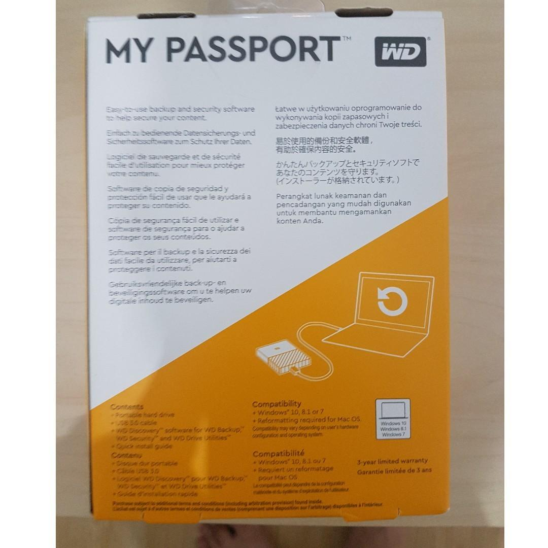 WD My Passport 1TB HDD (BLACK), Electronics, Others on Carousell