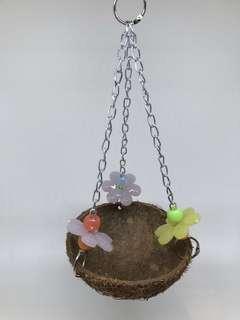 Coconut Husk Nest Swing w acrylic beads for Parrot