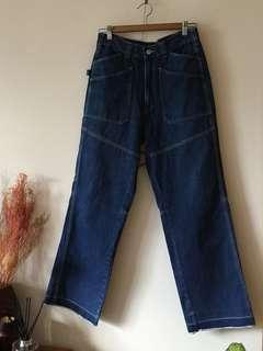 Vintage高腰牛仔寬褲