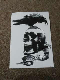 Tattoo Flash Temporary Sticker 3D Motif Crow & Skull