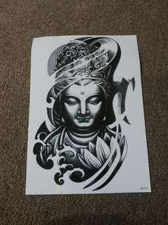 Temporary Sticker Tattoo Flash 3D Motif Patung Buddha