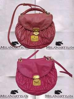 c4e464d6236 FADED YELLOWISH FADED MIUMIU BAG BEAUTIFULLY COLOR RESTORED BY OUR MILAN  ARTISAN COLOR TEAM
