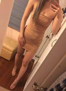 Nude strapless bandage dress