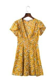 BNIP mustard tie up floral dress
