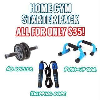 🚚 Home Gym Starter Pack - Ab Roller, Push Up Bar, Skipping Rope with Counter