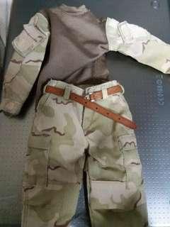 "1/6 12"" desert uniform bdu with leather belt"