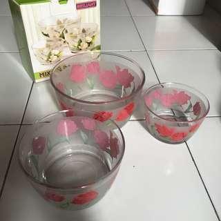 Mangkuk Kaca Isi 3 (Mixing Bowl)
