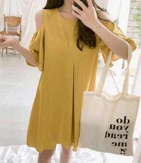 NEW Korean Stylish Sweet Stylish Feminine Romantic Open Off Shoulder Summer Dress