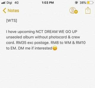 [WTS] NCT DREAM WE GO UP ALBUM (unsealed without pc & crew card