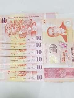 "🆎 2 pieces notes with same IDENTICAL NUMBERS. 🆎 Collective items for higher future values. 🆎 We can see  ""SG50""  printed in every piece of special $10 notes"