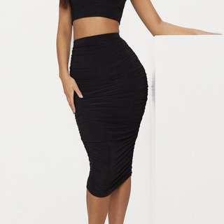 Black Ruched Midi Bodycon Skirt