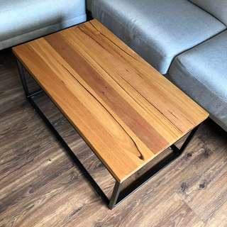 Messmate Recycled Timber Coffee Table with Black Metal Legs