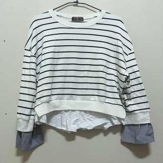 🚚 條紋棉質接拼襯衫