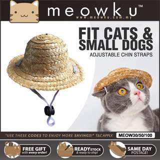 Cat   Dog Pet Straw Summer Hat (Topi Pekebun Kucing) - High Quality Version 05a56a054d