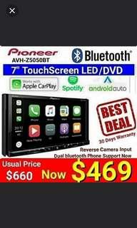 "Pioneer Android Auto / Apple Carplay /Spotify Head Unit Model Z5050BT Bluetooth 7"" Touchscreen  DVD player + Full HD Video Playback via USB.  Usual Price: 660 Special price: $ 469 (Brand new in box & sealed)"