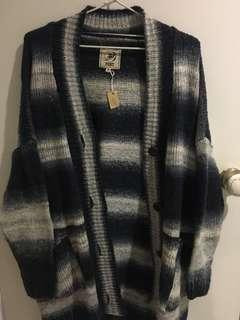 Blue and white striped button down knit sweater/cardigan