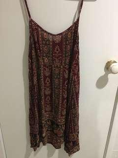 Bohemian/boho patterned dress with tie back