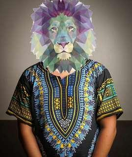 Oversized unisex dashiki black panther color