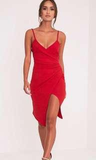 BNWT Prettylittlething Lauriell Red Wrap Dress