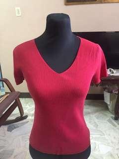 Red V-neck Shirt