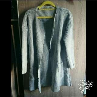 100%new 灰色開胸厚針織外套 grey knit cardigan