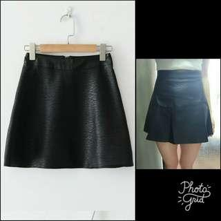 100%new H&M型格黑色仿皮A字傘裙 black PU faux leather skirt