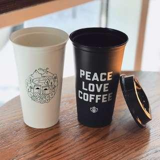 🆕⚫️Starbucks Peace Love Coffee Reusable Black Mug Cup
